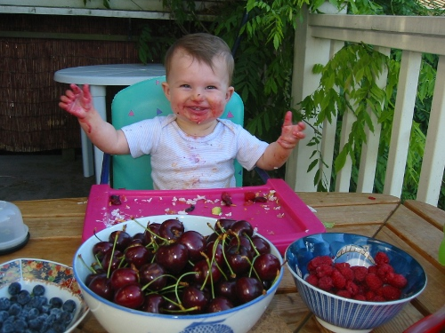 baby eating berries