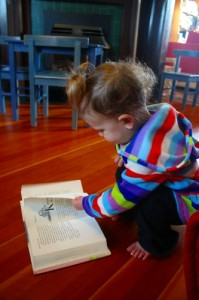toddler with a ponytail reading a book