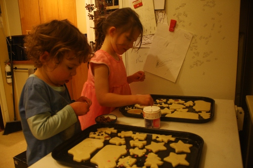 baking christmas cookies