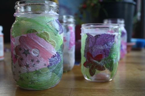 mod podge canning jar lanterns