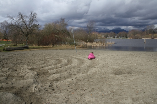 stormy beach labyrinth