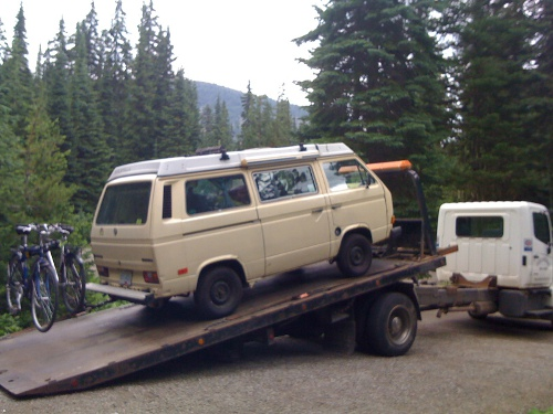 westfalia getting towed